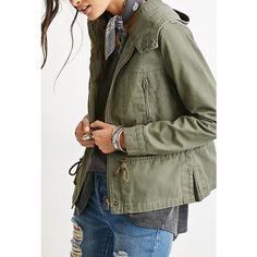 Forever 21 Women's  Hooded Twill Jacket ($28) ❤ liked on Polyvore featuring outerwear, jackets, forever 21, woven jacket, twill jacket, forever 21 jackets and green jacket