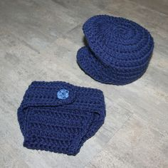 Crochet Baby Driver cap & diaper cover set, Newborn photo prop, knitted