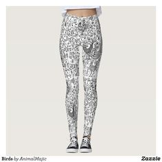 Birds Leggings - Printed #Yoga #Leggings & Running Tights Creative Workout and #Gym #Fashion Designs From International Artists - #pilates #exercise #crossfit #workout #tights #running #sports #design #fashiondesign #designer #fashiondesigner #style #pants