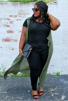 All black outfit, duster vest outfit, Charlotte Russe Black Women Fashion, Curvy Women Fashion, Plus Size Fashion, Womens Fashion, Petite Fashion, Look Plus Size, Plus Size Women, Look Legging, Look 2017