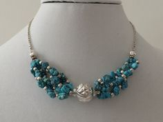 Sterling Silver And Turquoise Necklace 16 by CJsJewelryShoppe, $49.00