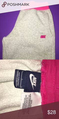 Nike sweat pants Grey sweat pants with pink logo and drawstring worn twice Nike Pants Track Pants & Joggers