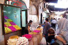 Verkoop van groenten in zuur.  In de soek van Damascus. Foto: Marco in 't Veldt