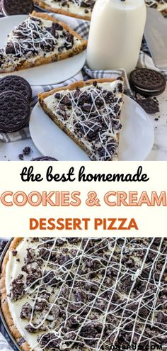 Cookies and cream dessert pizza is a decadent sweet treat your whole family will love. Loaded with chocolate chip cookies, a smooth cream cheese icing, chopped Oreos and white chocolate, this easy dessert is a hit! #dessert #dessertpizza #cookies Food N, Good Food, Dessert Pizza, Cream Cheese Icing, Group Meals, Cookies And Cream, Quick Recipes, Easy Desserts, Food Pictures