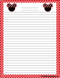 Mickey Stationery, Mickey Mouse, Stationery - Free Printable Ideas from Family… Printable Lined Paper, Free Printable Stationery, Printable Recipe Cards, Disney Writing, Disney Printables, Disney Scrapbook, Scrapbooking, Pocket Letters, Stationery Paper