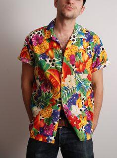 9b5ccd762ed 80s large rainbow fruit and polkadot mens Hawaiian button down shirt  vintage clothing beach bum vacation cruise ship