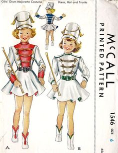 1950s Girls Drum Majorette Cosutme