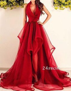 Red v neck organza long prom dress, red formal dress - 24prom