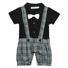 Baby Boy Kids Bowknot Gentleman Romper Jumpsuit Clothing Set