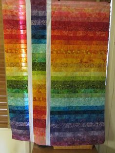 rainbow batik quilt. Love it!