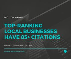Did You Know? Top-ranking Local Businesses Have Citations. Service Quotes, Local Seo, Seo Company, Seo Services, Trivia, Did You Know, Philippines, Tuesday, Business