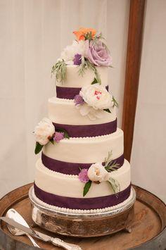 Orange, purple and white cake by Buttercream Dreams  Weddings | Keswick Vineyards