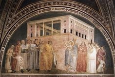 GIOTTO di Bondone Scenes from the Life of St Francis (north wall) Fresco Bardi Chapel, Santa Croce, Florence Renunciation of Wordly Goods St. Francis, Francis Of Assisi, Saint Francis, Religious Paintings, Religious Art, Renaissance Paintings, Renaissance Art, Siena, Fresco
