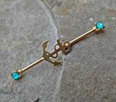 Anchor Gold Opal Industrial Barbell Body Jewelry Scaffold Ear Jewelry Double Piercing Upper Ear Jewelry – Jewelry & Piercings - To Have a Nice Day Industrial Earrings, Industrial Piercing Jewelry, Industrial Piercing Barbells, Industrial Barbell, Industrial Bars, Ear Jewelry, Body Jewelry, Ear Peircings, Double Piercing