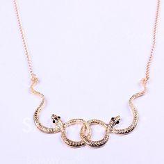 $4.06 Vintage Snake Embellished Pendant Necklace For Women