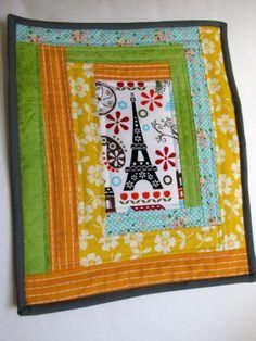 eiffel tower log cabin mini quilt mug rug by myfivelittlepeppers
