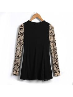 Lace Round Collar Long Sleeve Embroidery Top