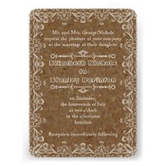 Brown cork, vintage flourish wedding invitation with rounded corners. #cork, #brown, #flourish, #vintage, #wedding, #weddinginvitations, #weddinginvites, #invitations, #invites