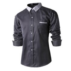New Hot Hot  Arrival Fashion Stripe Men Shirts Long Sleeve Cotton Slim Fit French Cuff Casual Male Social Dress Shirt