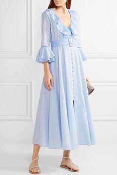 811a76f125 Gül Hürgel - Ruffle-trimmed Printed Cotton Midi Dress - Light blue - x small