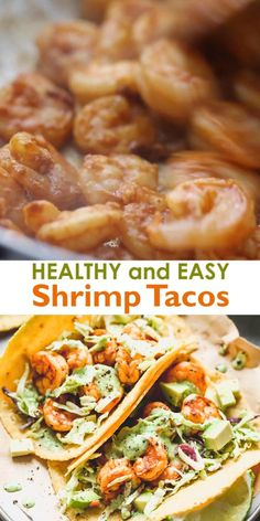 Healthy and easy Shrimp Tacos made with marinated sautéed shrimp a simple cabbage slaw and topped with a delicious creamy cilantro shrimp taco sauce. Ready in 20 minutes! Healthy Shrimp Tacos, Cilantro Shrimp, Meals With Shrimp, Slaw For Shrimp Tacos, Recipes With Shrimp, Shrimp Dinner Recipes, No Carb Dinner Recipes, Best Dinner Recipes Ever, Food Dinners