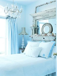 Gorgeous Antique Mantle Becomes the Perfect Headboard in this Beach Bedroom which has all the elements of Shabby Chic mixed with Beach Cottage! Dream Bedroom, Home Bedroom, Bedroom Decor, Bedroom Ideas, Pretty Bedroom, Bedroom Designs, Seaside Bedroom, Shabby Bedroom, Modern Bedroom