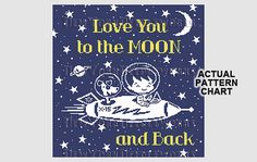 Love You to the Moon and Back Rocket Cross by NewYorkNeedleworks, $8.50