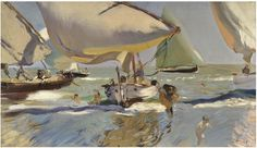 Joaquin Sorolla (Valencian Spanish, Impressionism, Boats on the Shore (Barcas en la playa), Oil on canvas, 56 x 94 cm x 37 inches). Frank Stella, Spanish Painters, Spanish Artists, Winslow Homer, Manet, Renoir, Claude Monet, Georges Braque, Canvas Art Prints