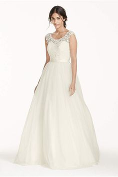 8e751354ac2 Tulle Wedding Dress with Lace Illusion Neckline Style