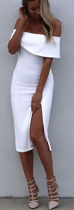 Women's fashion | Off the shoulders flattering white slit dress