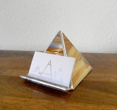 Brown Stained Glass Pyramid Business Card Holder by RagNBoneStudio, $38.00
