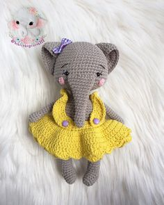 In this article I will share a wonderful amigurumi pattern again. You can enjoy this beautiful amigurumi elephant free english pattern.  Materials  Yarn Pekhorka children's novelty,  1 skein of the main color, half  skein of a different color  Hook 1.5-1.75  Filler  Long needle  Plastic joint or cotter pin  Plastic eyes d = 13mm, with  you can use  baked plastic for protein  Artificial cilia, button  1.5 mm wire for neck  no joint or cotter pin Main Colors, Different Colors, Elephant Pattern, Free Pattern, Dinosaur Stuffed Animal, Crochet Hats, Teddy Bear, Toys, Children