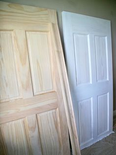 He went to Home Depot and picked out two unfinished raised-panel doors, then cut about 8 inches off the top of each and flipped the doors upside down so the bottom of the door was the top of the headboard. He primed them with his favorite primer, The Gripper, and then the headboard was ready for paint.