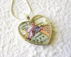 <3 World Traveler Heart Shaped Map Necklace - London, England. $20.00, via Etsy.