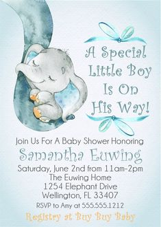Find great custom baby shower invitations for your party! We've collected 25 baby shower invitation ideas for you to find the perfect card for this event! Juegos Baby Shower Niño, Dibujos Baby Shower, Invitaciones Baby Shower Niña, Dumbo Baby Shower, Baby Shower Gifts, Baby Shower Boys, Unique Baby Shower Themes, Baby Elefant, Shower Bebe