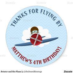 Aviator and His Plane Classic Round #Sticker   #pilot #aviator #helmet #goggles #soaring #airplane #sky #clouds #retroplane #flying #propellerplane #aviation #plane #opencockpit #blue #red #kidsbirthdayparty