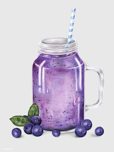 Illustration of fruit smoothie drink watercolor style