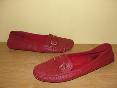 Ann Taylor Loft Shoes Women's Sz 10M Red Flat Leather Comfort Moccasins Loafers #AnnTaylor #LoafersMoccasins #Casual