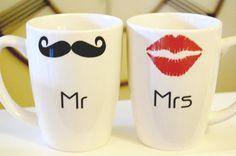 Mr & Mrs mugs. Because a stash wins every time!