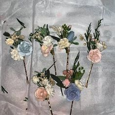 Haley Mashburn added a photo of their purchase Wrist Corsage Wedding, Bridesmaid Corsage, Flower Headpiece Wedding, Blush Wedding Flowers, Flower Crown Wedding, Bridal Flowers, Blue Bridesmaids, Groomsmen Boutonniere, Blue Boutonniere