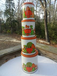 VTG 1970s Retro Groovy Ballonoff Metal MUSHROOM 4pc Orange Canisters