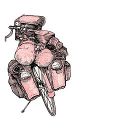 Touring Bicycle Drawing  - Touring Bicycle Fine Art Print