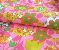 1960s Vintage Cotton Fabric  MOD Bright Floral by SelvedgeShop, $14.00