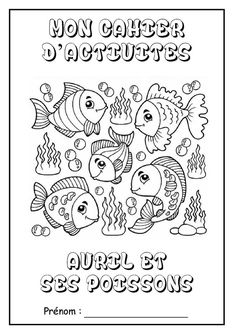 """Page de garde cahier d'activités """"Avril et ses poissons"""""""