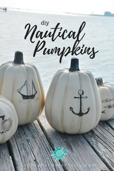 DIY Nautical Pumpkins Su Wa Fall by the sea We love fall.and we love all things coastal! So we're getting in the fall spirit with simple DIY nautical pumpkins. We picked up a few white faux pumpkins and had some fun with a new layered naut Coastal Fall, Coastal Christmas, Coastal Decor, Coastal Living, Faux Pumpkins, Painted Pumpkins, Diy Pumpkin, Pumpkin Carving, Pumpkin Ideas