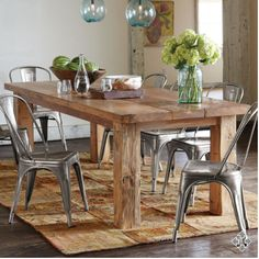 slab table top or something raw & natural looking, teamed with industrial style chairs like Tolix chairs.and low hanging feature light Dinning Room Tables, Dining Set, Dining Rooms, Dining Chairs, Slab Table, Rustic Table, Reclaimed Wood Dining Table, Rustic Farmhouse, Farmhouse Table Legs