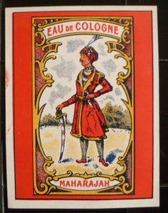 Etiquette de flacon ancienne, eau de Cologne Maharajah, old label for bottle