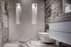 Bathroom built and designed by Simply Bathroom Solutions in Balwyn North.  #bathroomrenovation #bathroom #design #niche #lighting #greyandwhite