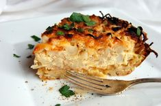 Cauliflower and cheese pie with potato crust.  Make sure to squeeze out the potatoes before mixing