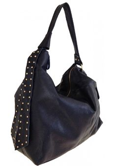 Elicia Charvet -- Stylish Blue Leather Hobo with Ties